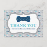 """Little Man Thank You Card, Bow Tie, Blue, Gray<br><div class=""""desc"""">Say thank you to your shower guests with this classic little man themed thank you card!</div>"""