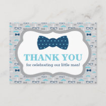 Little Man Thank You Card, Bow Tie, Blue, Gray