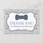 """Little Man Thank You Card, Bow Tie, Blue, Gray<br><div class=""""desc"""">Say thank you to your shower guests with this classic little man themed thank you card!   Coordinating items and other colors choices can be found here: http://www.zazzle.com/collections/baby_shower_for_a_little_man-119632624469811392</div>"""