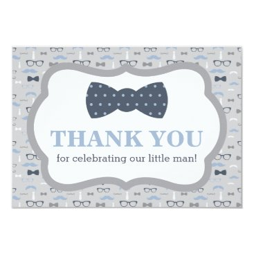 Toddler & Baby themed Little Man Thank You Card, Bow Tie, Blue, Gray Card