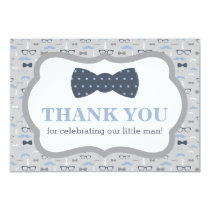 Little Man Thank You Card, Bow Tie, Blue, Gray Invitation