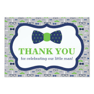 Little Man Thank You Card, Bow Tie, Blue, Green Card
