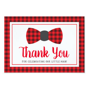 Little Man Thank You Card, Bow Tie, Buffalo Plaid Invitation