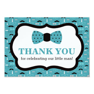 Little Man Thank You Card, Bow Tie, Teal, Black Card