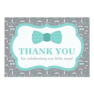 Little Man Thank You Card, Bow Tie, Turqoise, Gray Card