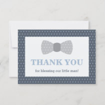 Little Man Thank You Card, Navy Blue, Gray