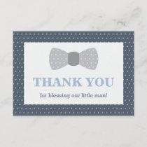 Little Man Thank You Card, Navy Blue, Gray