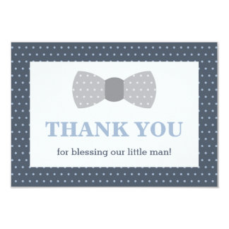 Little Man Thank You Card, Navy Blue, Gray Card