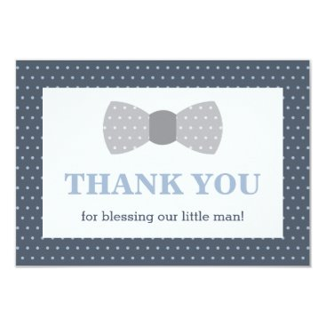 Toddler & Baby themed Little Man Thank You Card, Navy Blue, Gray Card