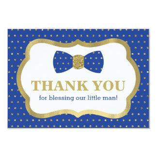 Little Man Thank You Card, Royal Blue, Gold Card