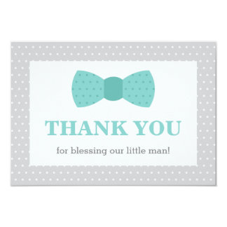 Little Man Thank You Card, Teal, Gray Card