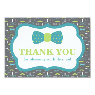 Little Man Thank You Card, Teal, Lime Green, Gray Card