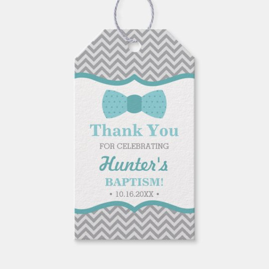 Little Man Thank You Tag Aqua Gray Baptism Gift Tags