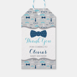 Little Man Thank You Tag, Baby Blue, Navy, Bow Tie Gift Tags