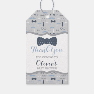 Little Man Thank You Tag, Blue, Gray, Bow Tie Gift Tags