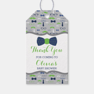 Little Man Thank You Tag, Blue, Green, Bow Tie Gift Tags
