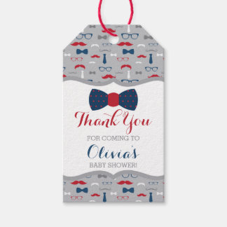 Little Man Thank You Tag, Blue, Red, Gray, Bow Tie Gift Tags