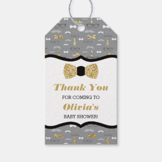 Little Man Thank You Tag, Gold, Black, Bow Tie Gift Tags