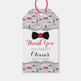 Little Man Thank You Tag, Red, Black, Bow Tie Gift Tags