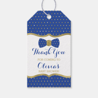 Little Man Thank You Tag, Royal Blue, Gold Gift Tags