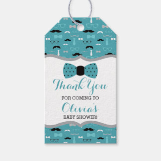 Little Man Thank You Tag, Teal, Black, Bow Tie Gift Tags