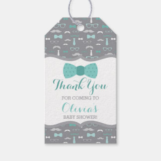 Little Man Thank You Tag, Teal, Gray, Bow Tie Gift Tags