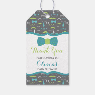 Little Man Thank You Tag, Teal, Green, Bow Tie Gift Tags