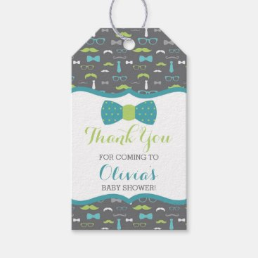 Toddler & Baby themed Little Man Thank You Tag, Teal, Green, Bow Tie Gift Tags