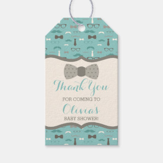 Little Man Thank You Tag, Teal, Tan, Bow Tie Gift Tags