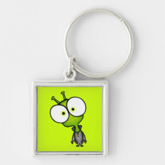 Little Martian Silver-Colored Square Keychain