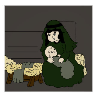 Little Mary and Baby Jesus in Green Poster