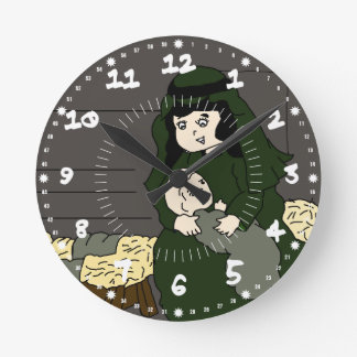 Little Mary and Baby Jesus in Green Round Clock