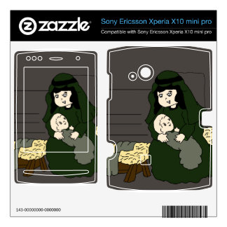 Little Mary and Baby Jesus in Green Xperia X10 Skins
