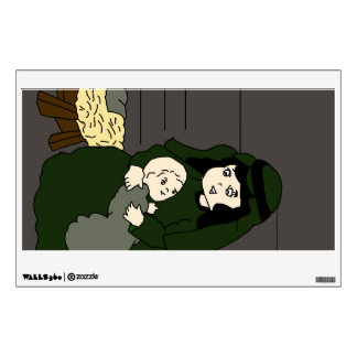 Little Mary and Baby Jesus in Green Wall Sticker