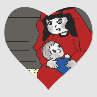 Little Mary and Baby Jesus in Red Heart Sticker