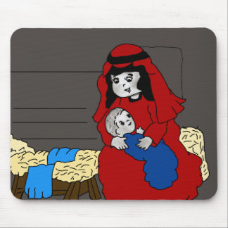 Little Mary and Baby Jesus in Red Mouse Pad