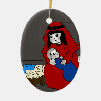 Little Mary and Baby Jesus in Red Double-Sided Oval Ceramic Christmas Ornament