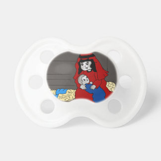 Little Mary and Baby Jesus in Red Pacifier