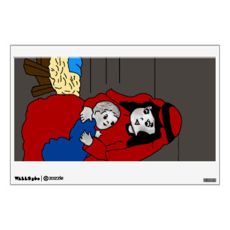 Little Mary and Baby Jesus in Red Wall Decal