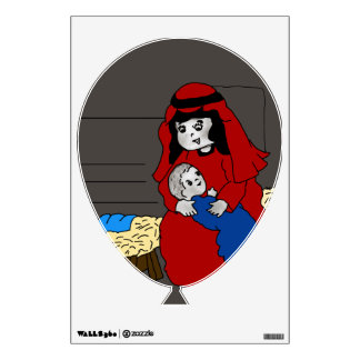 Little Mary and Baby Jesus in Red Wall Sticker