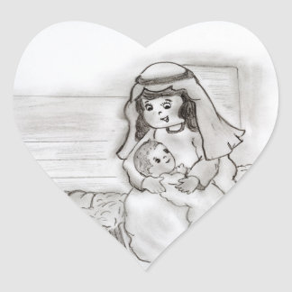 Little Mary and Baby Jesus - sketch Heart Sticker