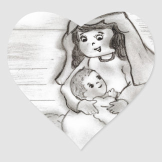 Little Mary and Baby Jesus Sketch Heart Sticker