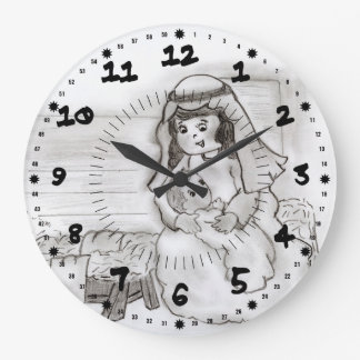 Little Mary and Baby Jesus Sketch Large Clock