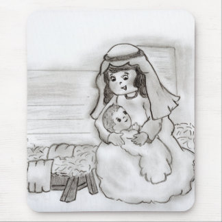 Little Mary and Baby Jesus Sketch Mouse Pad