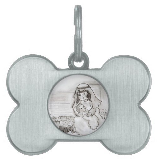 Little Mary and Baby Jesus Sketch Pet Tag