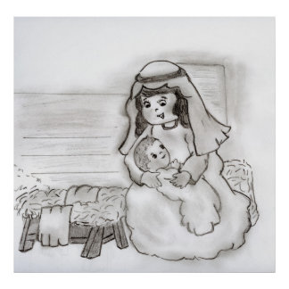 Little Mary and Baby Jesus Sketch Poster