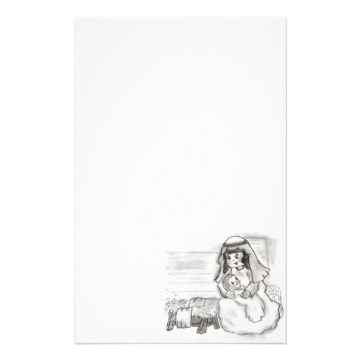 Little Mary and Baby Jesus Sketch Stationery