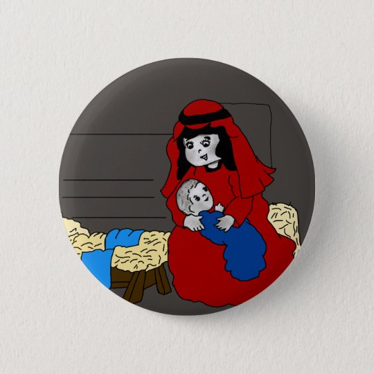 Little Mary and Jesus Button