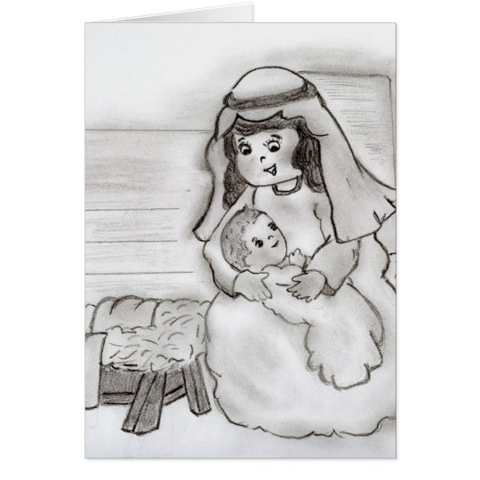 Little Mary and Jesus Card