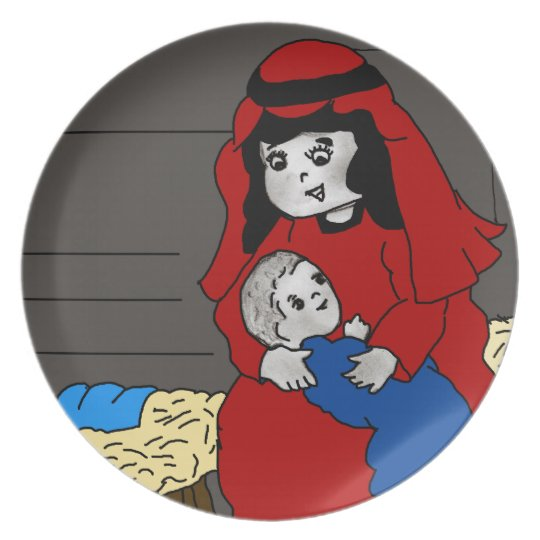Little Mary and Jesus in Red Melamine Plate